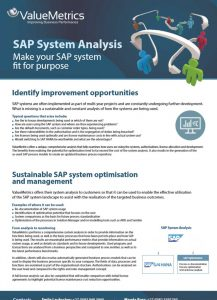 Valuemetrics SAP System Analysis