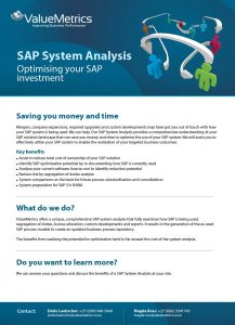 Valuemetrics SAP System Analysis Benefits